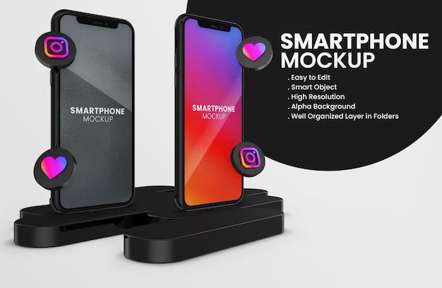 3d render instagram icon on black smartphone mockup Premium Psd