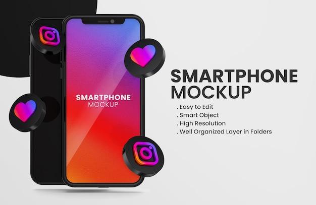 3d render instagram icon on black smartphone mockup