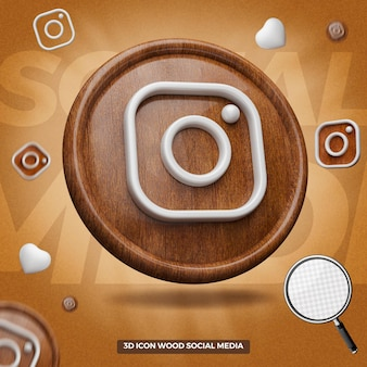 3d render instagram icon in left wooden circle