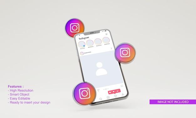 3dレンダリングinstagramイラスト携帯電話モックアップ
