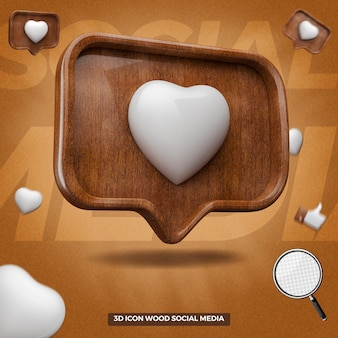3d render instagram like icon in left wooden message balloon