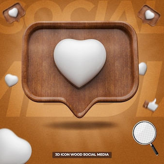 3d render instagram like icon in wooden message balloon