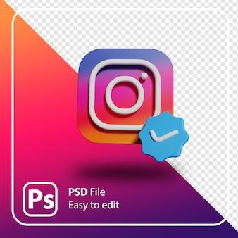 3d визуализация instagram минимальная иллюстрация логотипа изолированы
