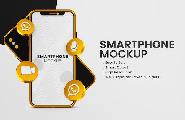 3d render instagram reels icon on gold smartphone mockup