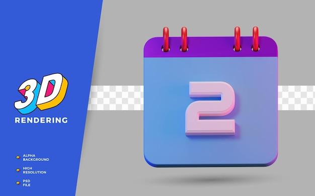 Календарь с изолированными символами на 2 дня в 3d-рендере для ежедневного напоминания или планирования