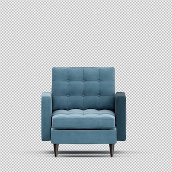 3d render of isometric armchair