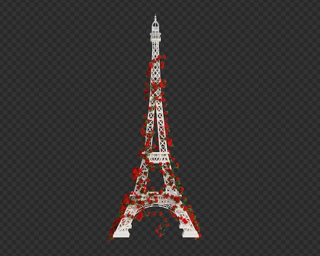 3d render ivy plants on eiffel tower isolated