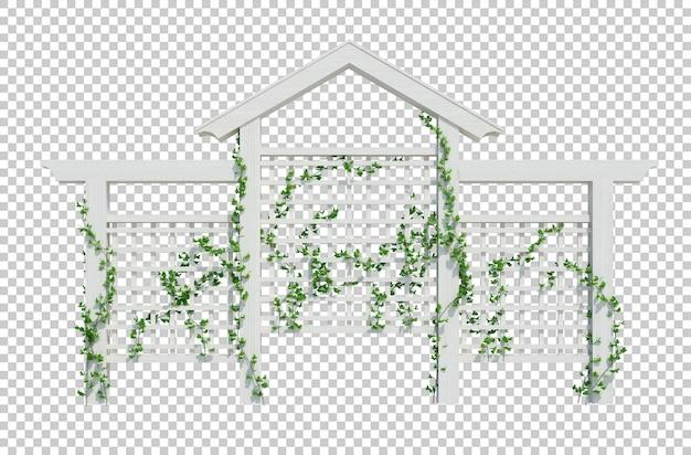 白い背景で隔離の3dレンダリングツタ植物