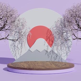 3d визуализация японской минимальной горы фудзи в фиолетовой сцене с вишневым деревом и подиумом