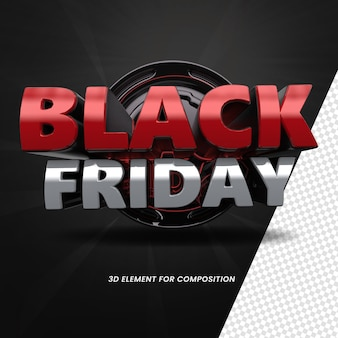 3d render label black friday element 3d for composition blackpromotion3deventnovember