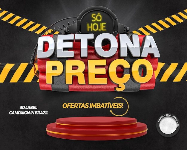 3d render label destroys price with podium for campaigns in general stores in brazil