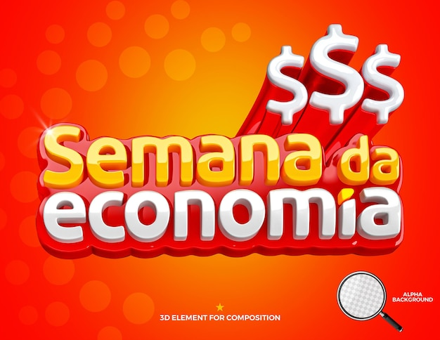 3d render label economy week brazil campaign