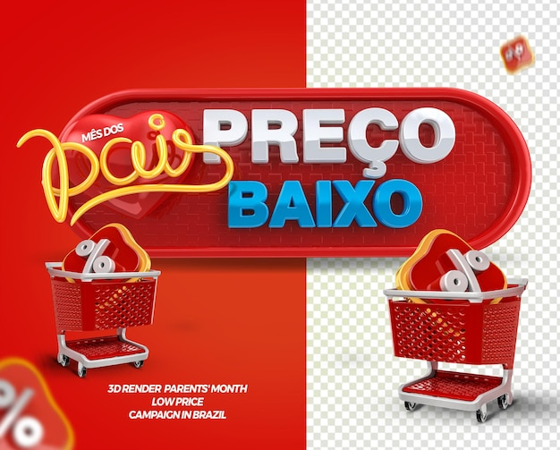 3d render label low price parents month with shopping cart for general stores in brazil