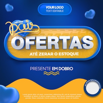 3d render label offers parents month for general stores in brazil
