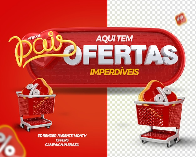 3d render label offers parents month with shopping cart for general stores in brazil