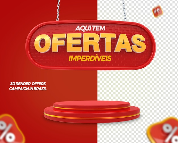 3d render label offers with podium for general stores in brazil