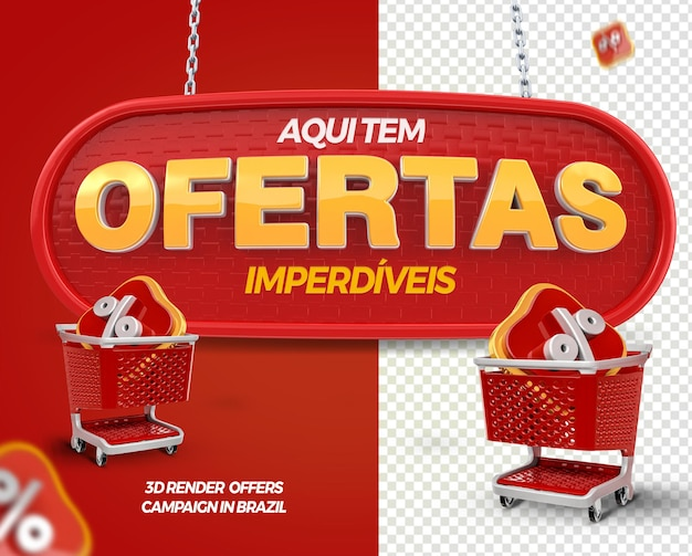 3d render label offers with shopping cart for general stores in brazil