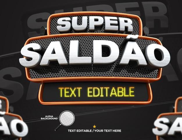 3d render label super offer campaign in portuguese