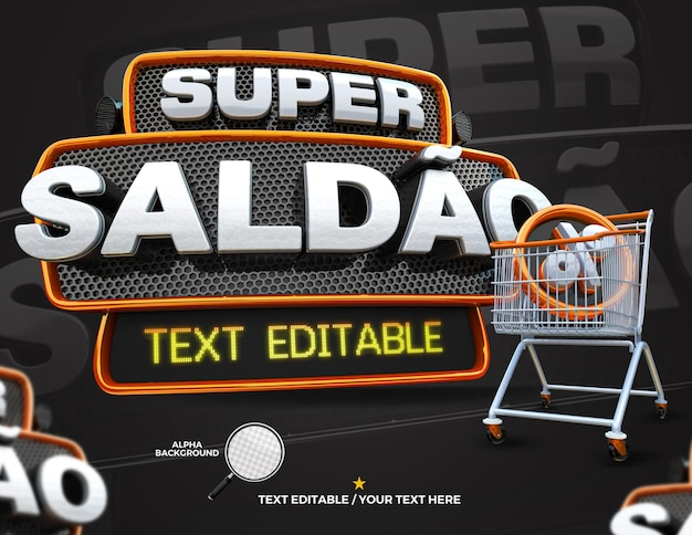 3d render label super offer with shopping cart campaign in portuguese