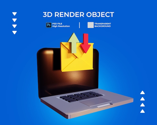 3d render of laptop sending and receive mail icon isolated