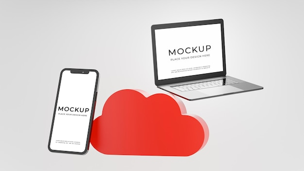 3d render of laptop smartphone with cloud storage concept for product display