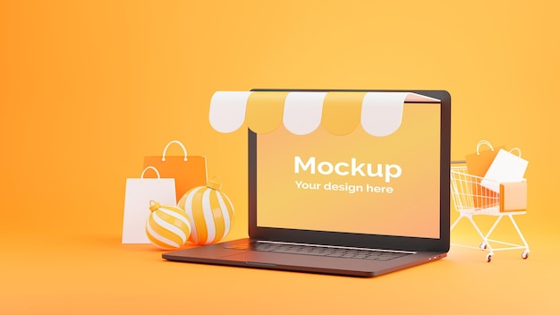 3d render of laptop store with shopping online concept