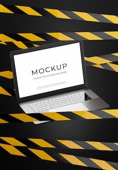 제품 디스플레이용 위험 스트립이 있는 3d 렌더링 노트북