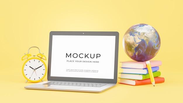 3d render of laptop with education concept mockup design