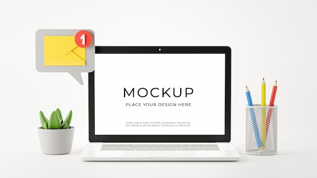 3d render of laptop with email notification icon for your mockup design
