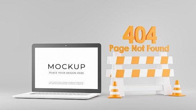 3d render of laptop with error 404 page not found isolated Premium Psd