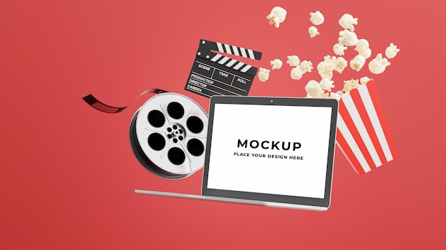3d render of laptop with online cinema time Premium Psd