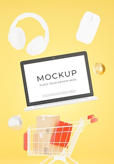 3d render of laptop with shopping concept mockup design