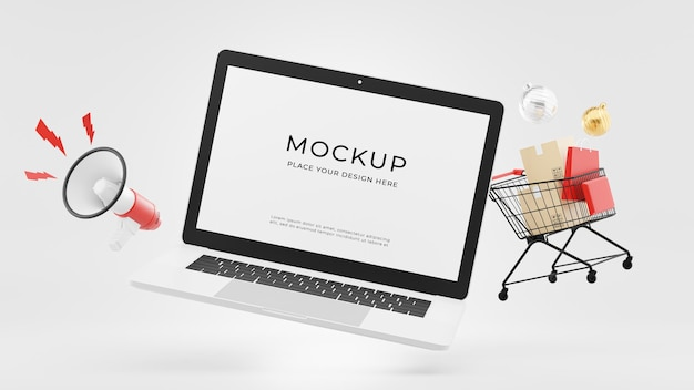 3d render of laptop with shopping time concept mockup design
