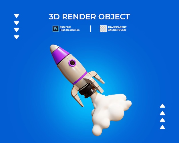 3d render of launch rocket icon isolated
