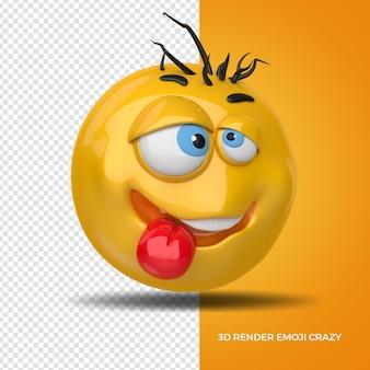 3d render left emoji crazi for composition