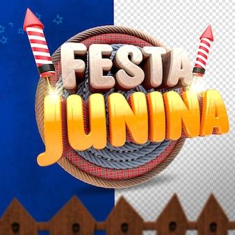 3d render left festa junina with cloth and fireworks