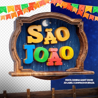3d render left sao joao with flags and wood for party in brazilian