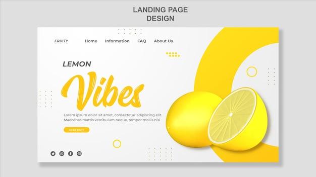 3dレンダリングレモンランディングページテンプレートデザイン