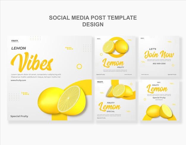 3dレンダリングレモンソーシャルメディア投稿テンプレートデザイン