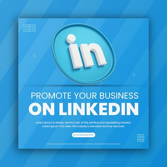 3d render linkedin icon business promotion for social media post design template