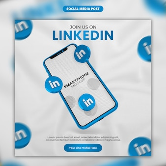 3d render linkedin icon and smartphone social media and instagram post template