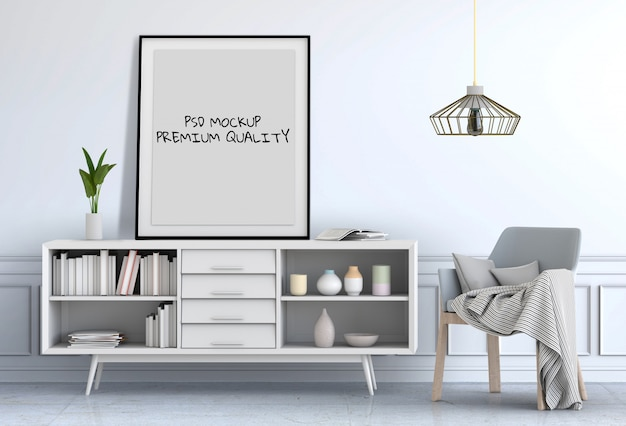 3d render of living interior room mockup blank poster.
