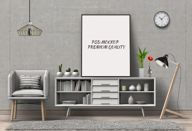 3d render of living room mockup blank poster.