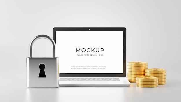 3d render of locked key on laptop concept mockup design