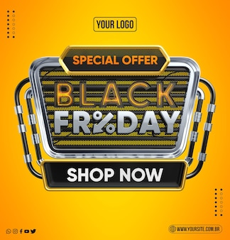 Специальное предложение с логотипом 3d render черная пятница купить сейчас
