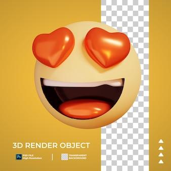 3d render of love emoticon icon