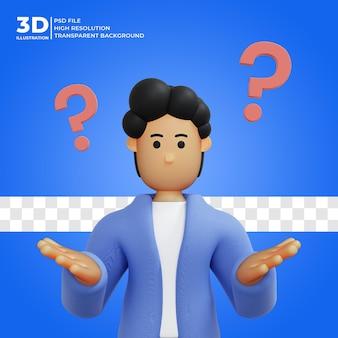 3d 렌더링 남성 캐릭터가 생각하고 있습니다 3d 렌더링 3d 그림 premium psd