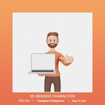 노트북을 가리키는 3d 렌더링 남성 캐릭터