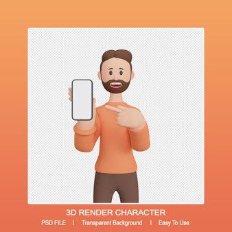 스마트 폰을 가리키는 3d 렌더링 남성 캐릭터