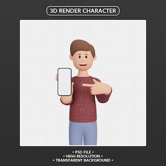 스마트폰을 가리키는 3d 렌더링 남성 캐릭터